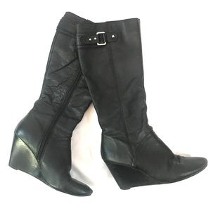 Nine West Heeled Wedge Boots Black Leather 8M